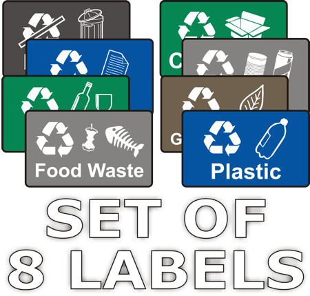 Wheeliue Rubbish Signs - Recycling Labels