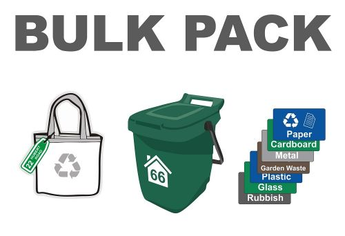 BULK PACK - Bin Numbers [6] + Recycling Stickers [8] + Bag Labels [2]