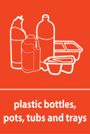 Recycling Sticker - Plastic Bottles, Pots, Tubs and Trays (WRAP Compliant)