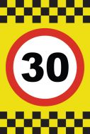 30 MPH Speed Sign Sticker - A4