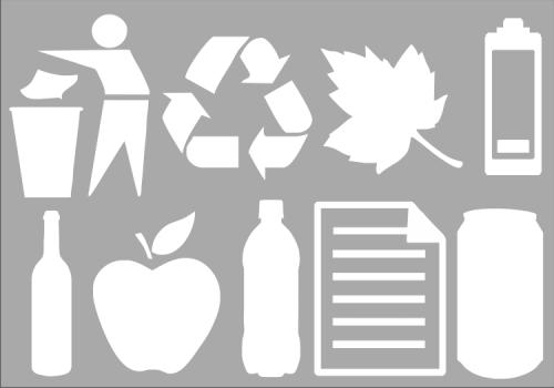Recycling Symbols A4 Sheet Wheelie Rubbish Signs