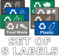 Recycling Stickers - Set of 8 Labels