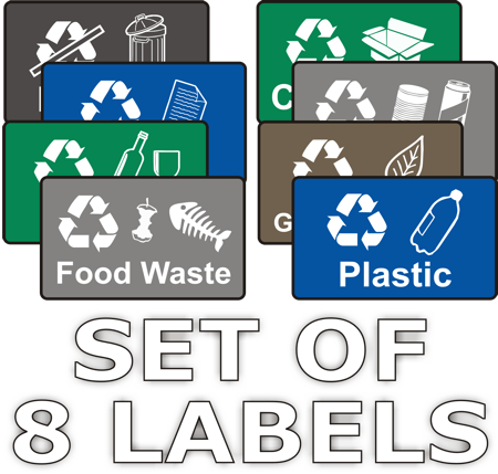 graphic regarding Recycle Signs Printable titled Recycling Stickers - Mounted of 8 Labels - Wheelie Garbage Signs and symptoms