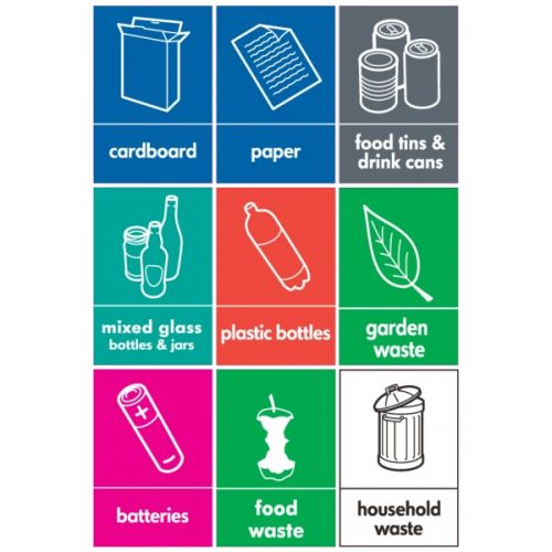 image about Recycle Labels Printable identified as Recycling Stickers - Fastened of 9 (WRAP Compliant) - Wheelie