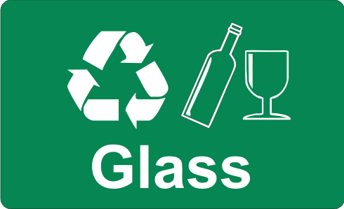 Recycling Sticker Glass Wheelie Rubbish Signs