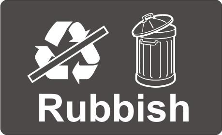 Recycling Sticker Rubbish Wheelie Rubbish Signs